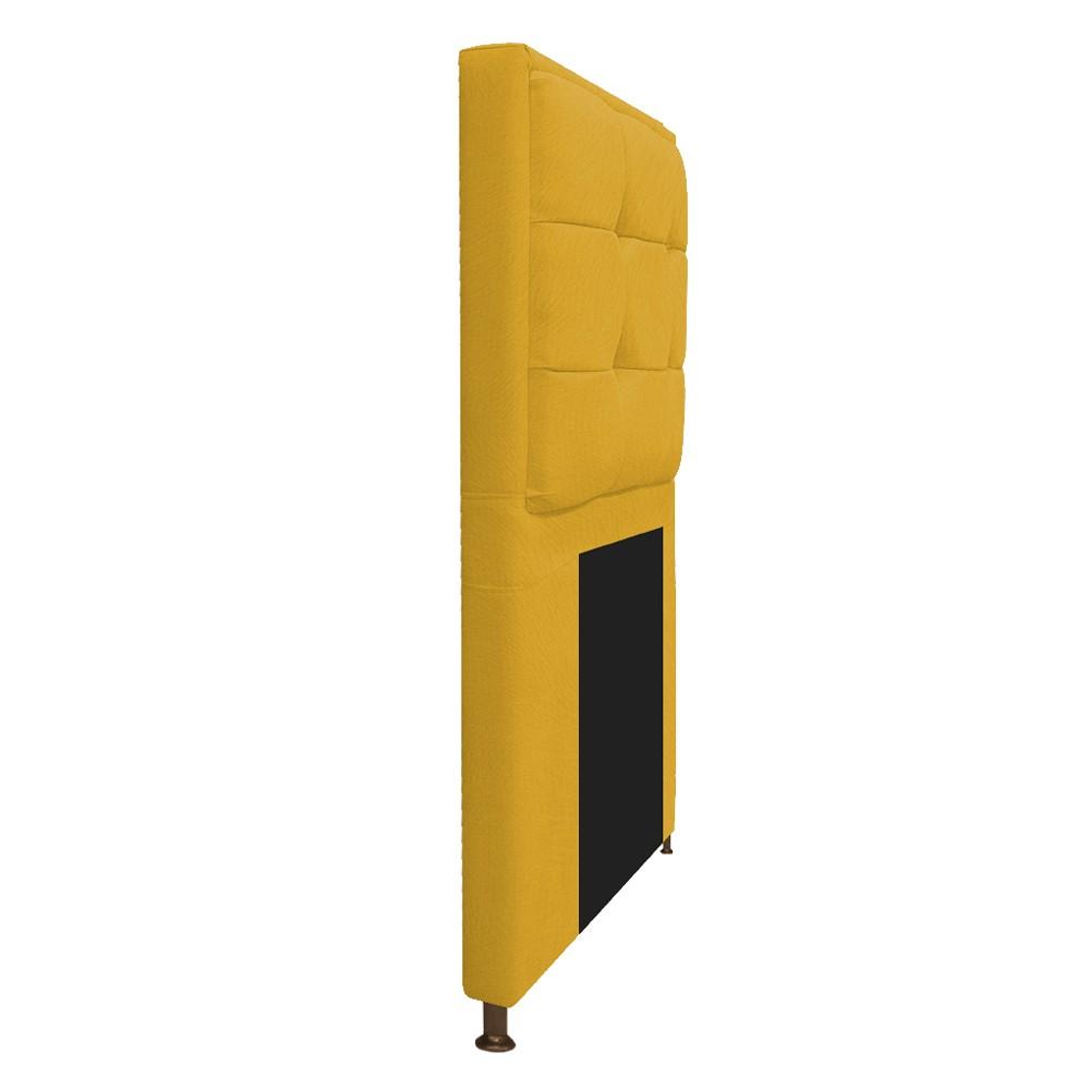 Kit Cabeceira e Calçadeira Copenhague 90 cm Solteiro Suede Amarelo - ADJ Decor