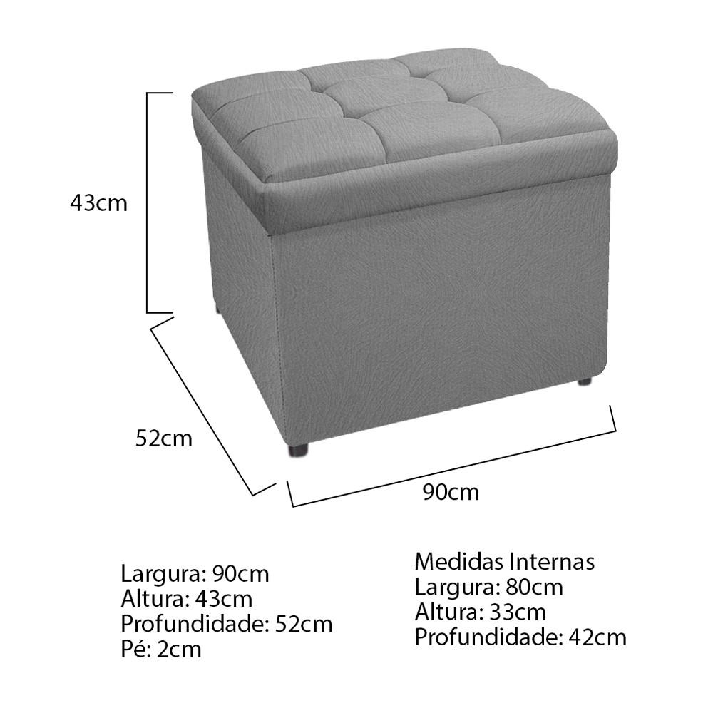 Kit Cabeceira e Calçadeira Copenhague 90 cm Solteiro Suede Cinza - ADJ Decor