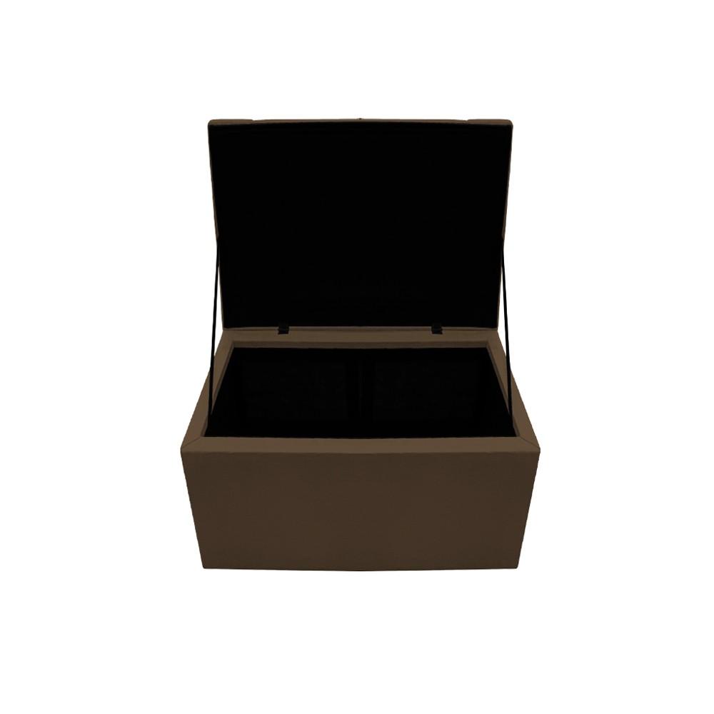 Kit Cabeceira e Calçadeira Copenhague 90 cm Solteiro Suede Marrom - ADJ Decor