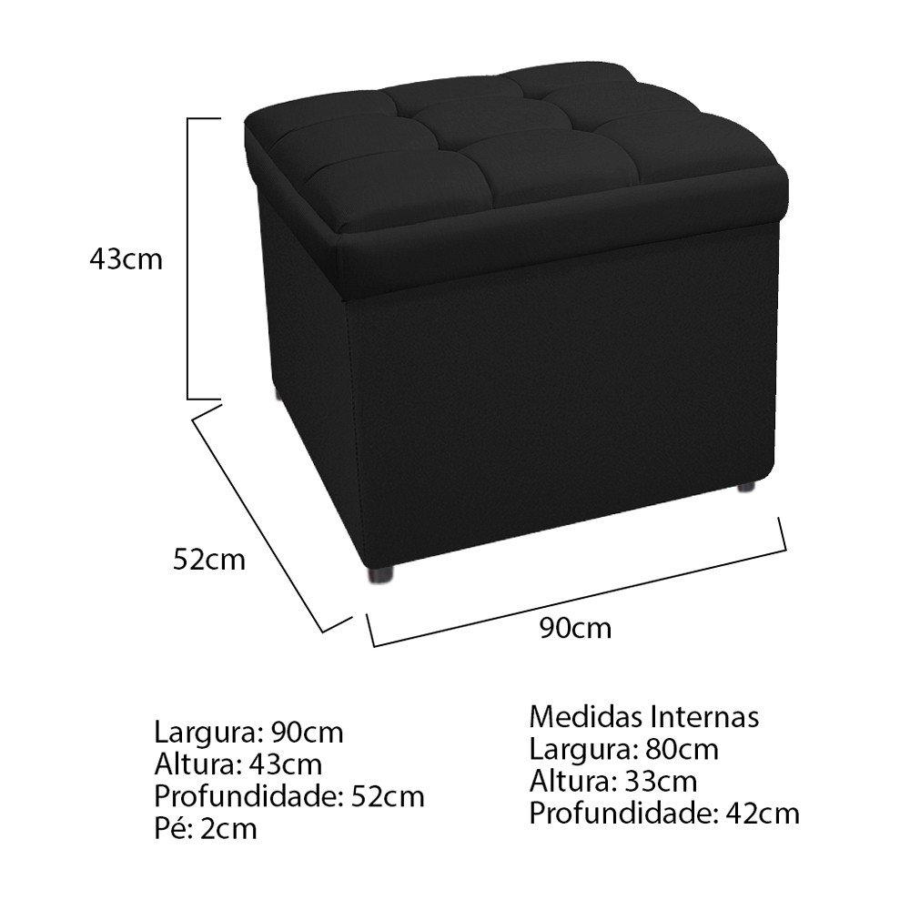 Kit Cabeceira e Calçadeira Copenhague 90 cm Solteiro Suede Preto - ADJ Decor