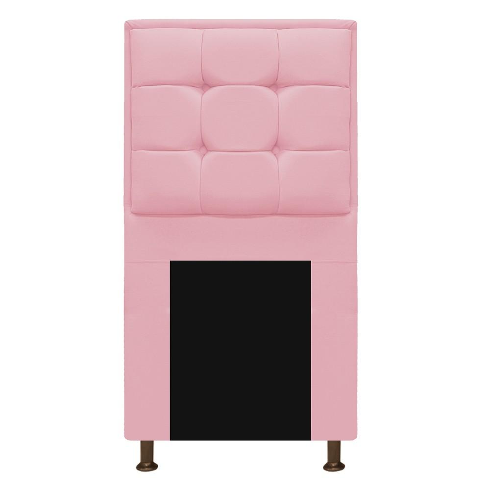 Kit Cabeceira e Calçadeira Copenhague 90 cm Solteiro Suede Rosa Bebê - ADJ Decor