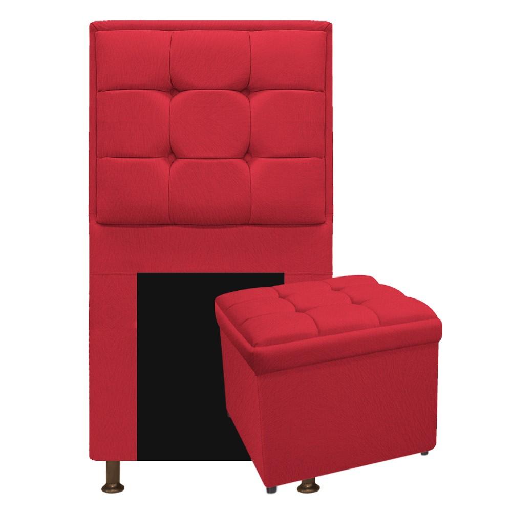 Kit Cabeceira e Calçadeira Copenhague 90 cm Solteiro Suede Vermelho - ADJ Decor