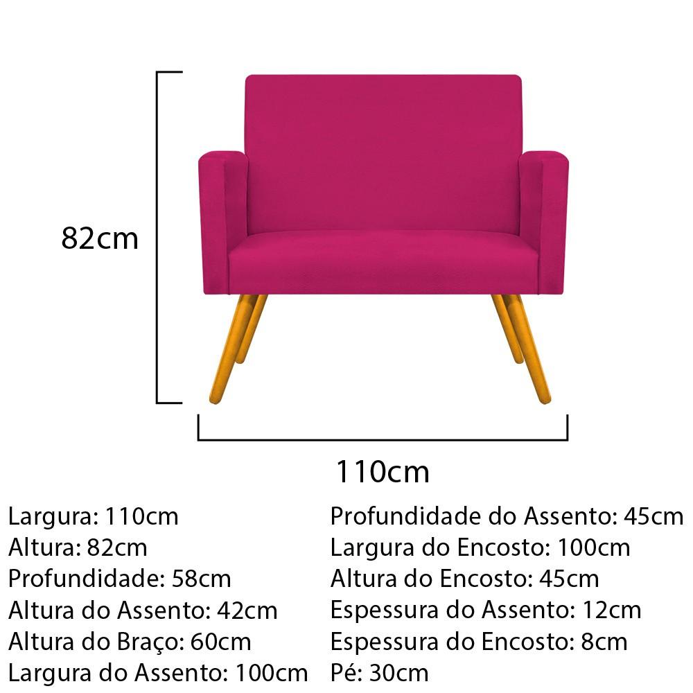 Kit Namoradeira Beatriz e 02 Puffs Sofia Base Giratória de Madeira Suede Pink - ADJ Decor