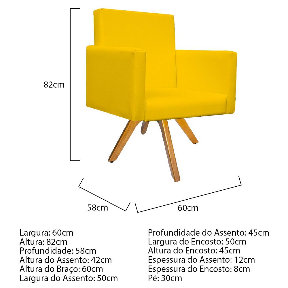 Kit Namoradeira e 02 Poltronas Beatriz Base Giratória de Madeira Corano Amarelo - ADJ Decor