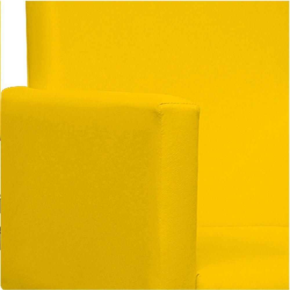 Kit Namoradeira e 02 Poltronas Beatriz Base Giratória de Metal Corano Amarelo - ADJ Decor