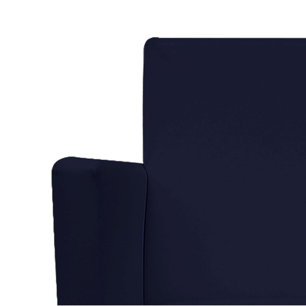 Kit Namoradeira e 02 Poltronas Beatriz Base Giratória de Metal Corano Azul Marinho - ADJ Decor