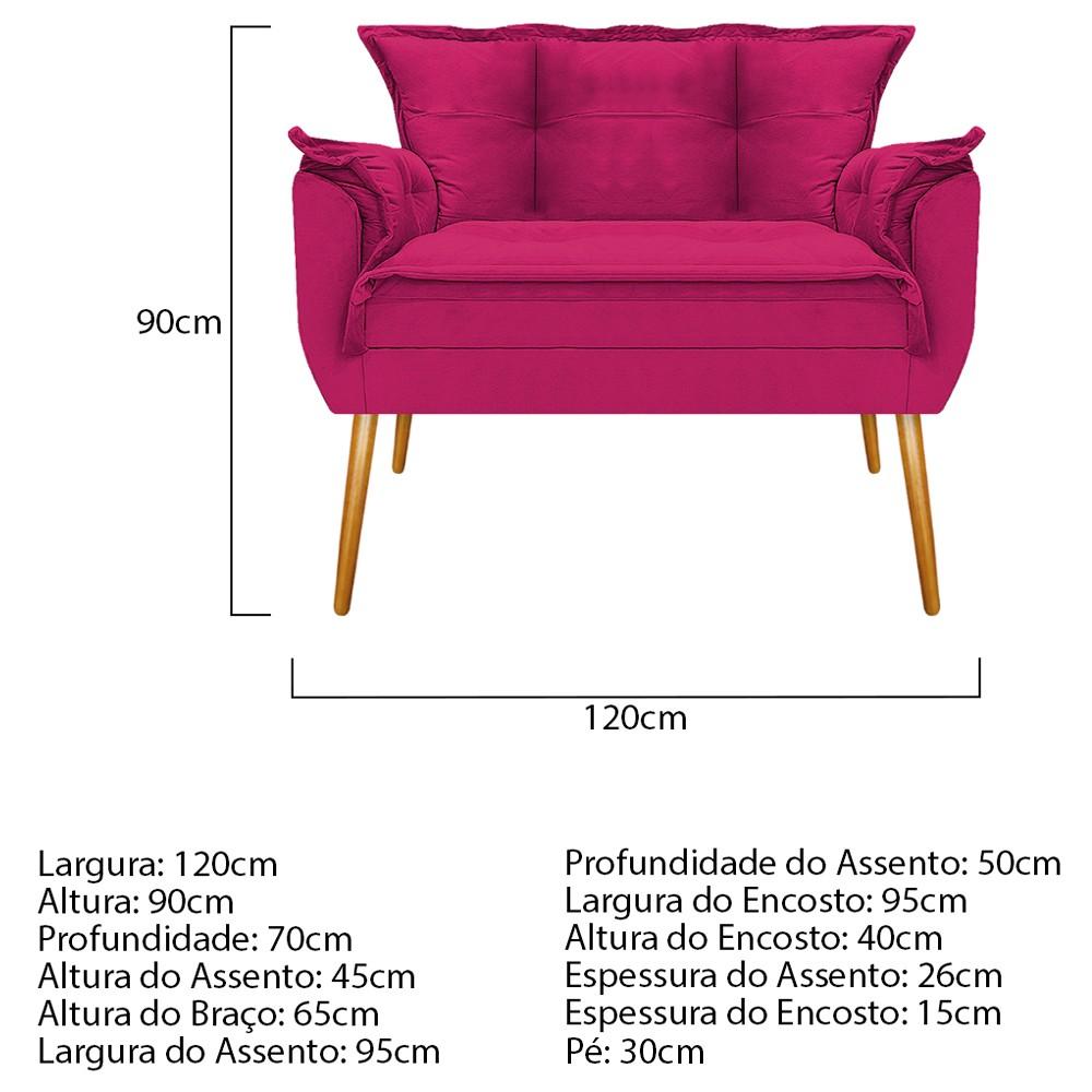Kit Namoradeira e 02 Puff Opala Base Giratória de Madeira Suede Pink - ADJ Decor