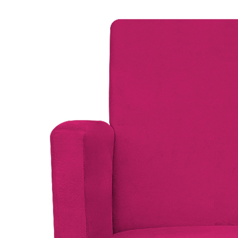 Kit Poltrona Beatriz e Puff Sofia Palito Tabaco Suede Pink - ADJ Decor