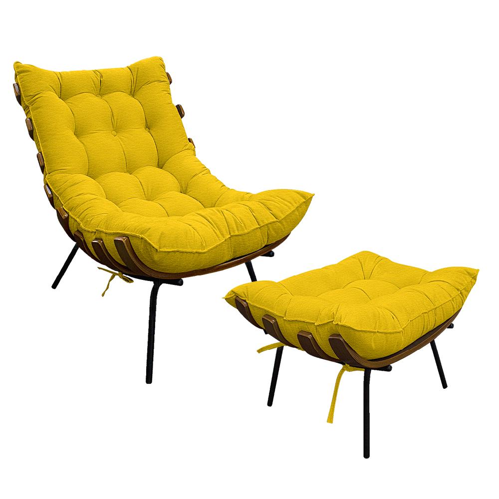 Kit Poltrona e Puff Costela Base Fixa Corano Amarelo - ADJ Decor