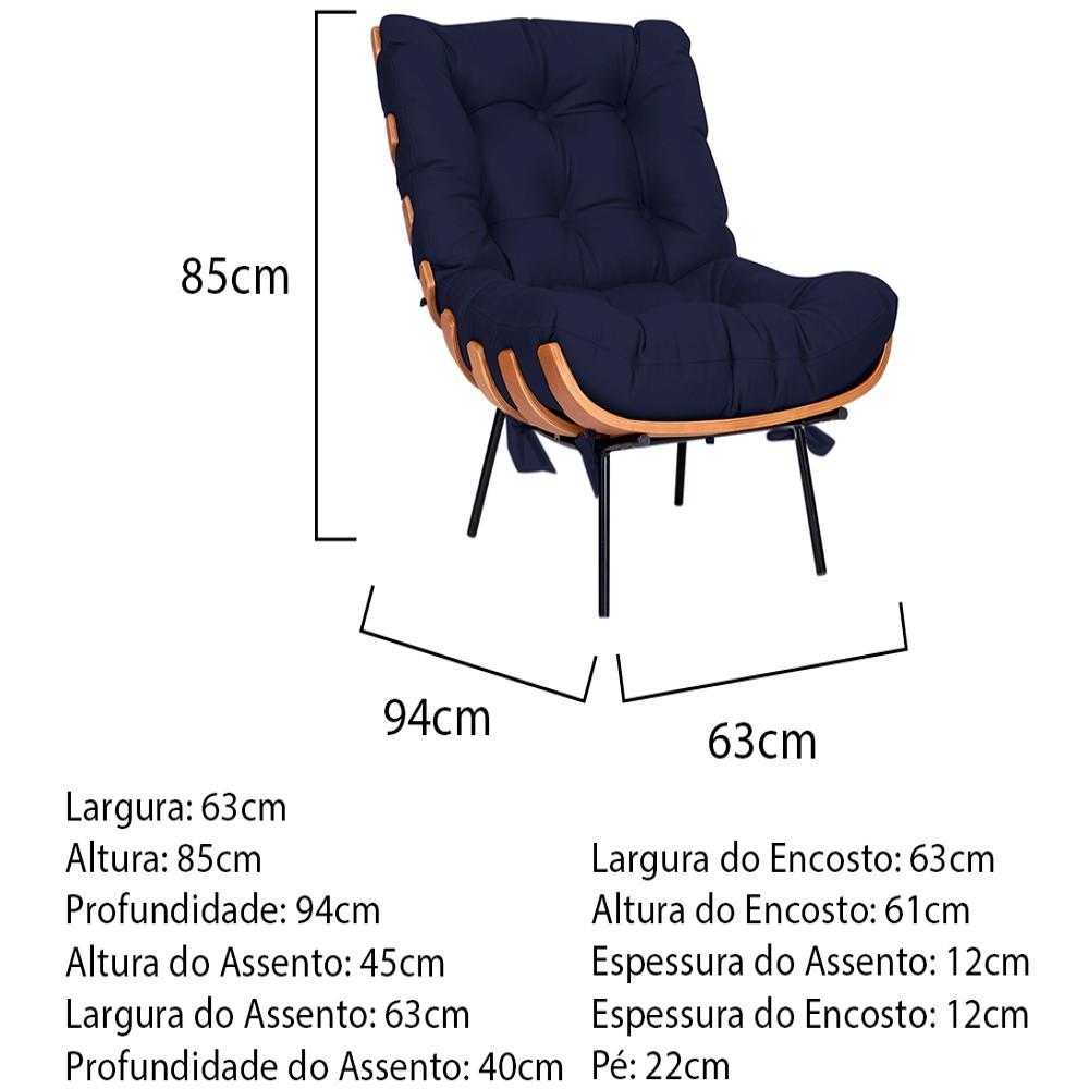 Kit Poltrona e Puff Costela Base Fixa Corano Azul Marinho - ADJ Decor