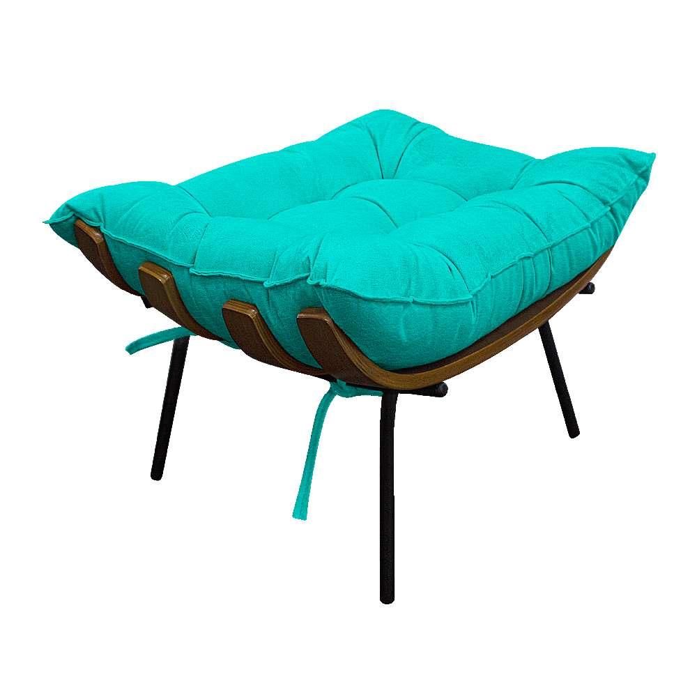 Kit Poltrona e Puff Costela Base Fixa Corano Azul Turquesa - ADJ Decor