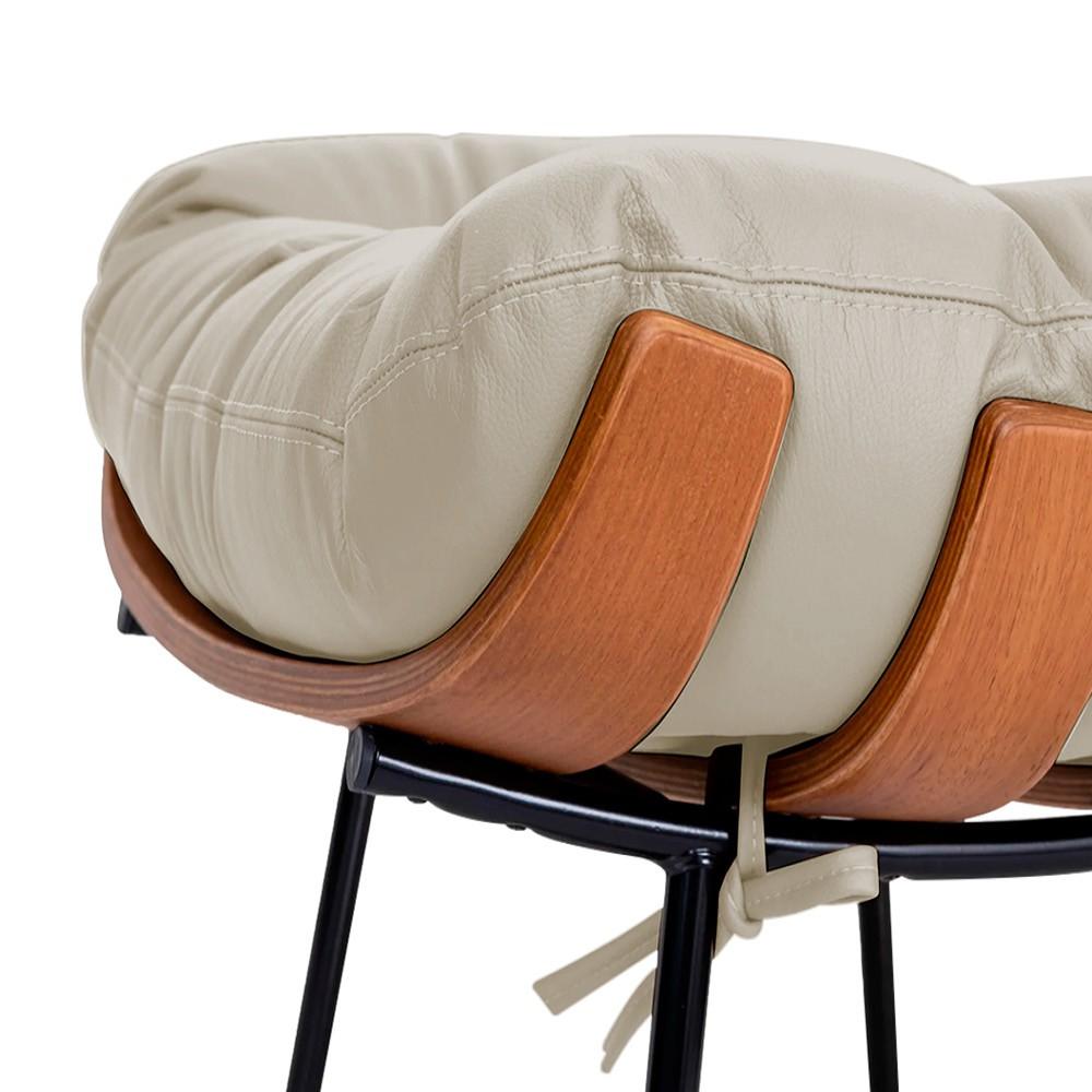 Kit Poltrona e Puff Costela Base Fixa Corano Bege - ADJ Decor