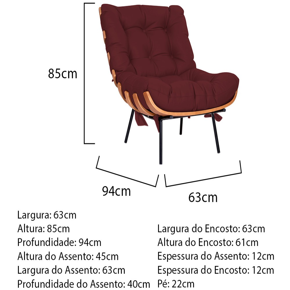 Kit Poltrona e Puff Costela Base Fixa Corano Bordô - ADJ Decor