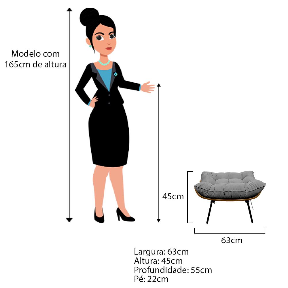 Kit Poltrona e Puff Costela Base Fixa Corano Cinza - ADJ Decor