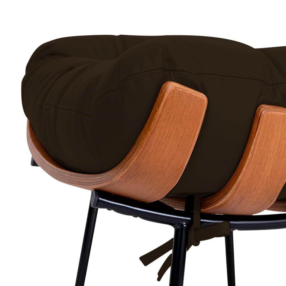 Kit Poltrona e Puff Costela Base Fixa Corano Marrom - ADJ Decor