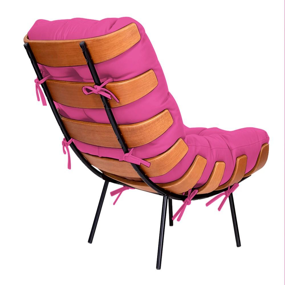 Kit Poltrona e Puff Costela Base Fixa Corano Pink - ADJ Decor
