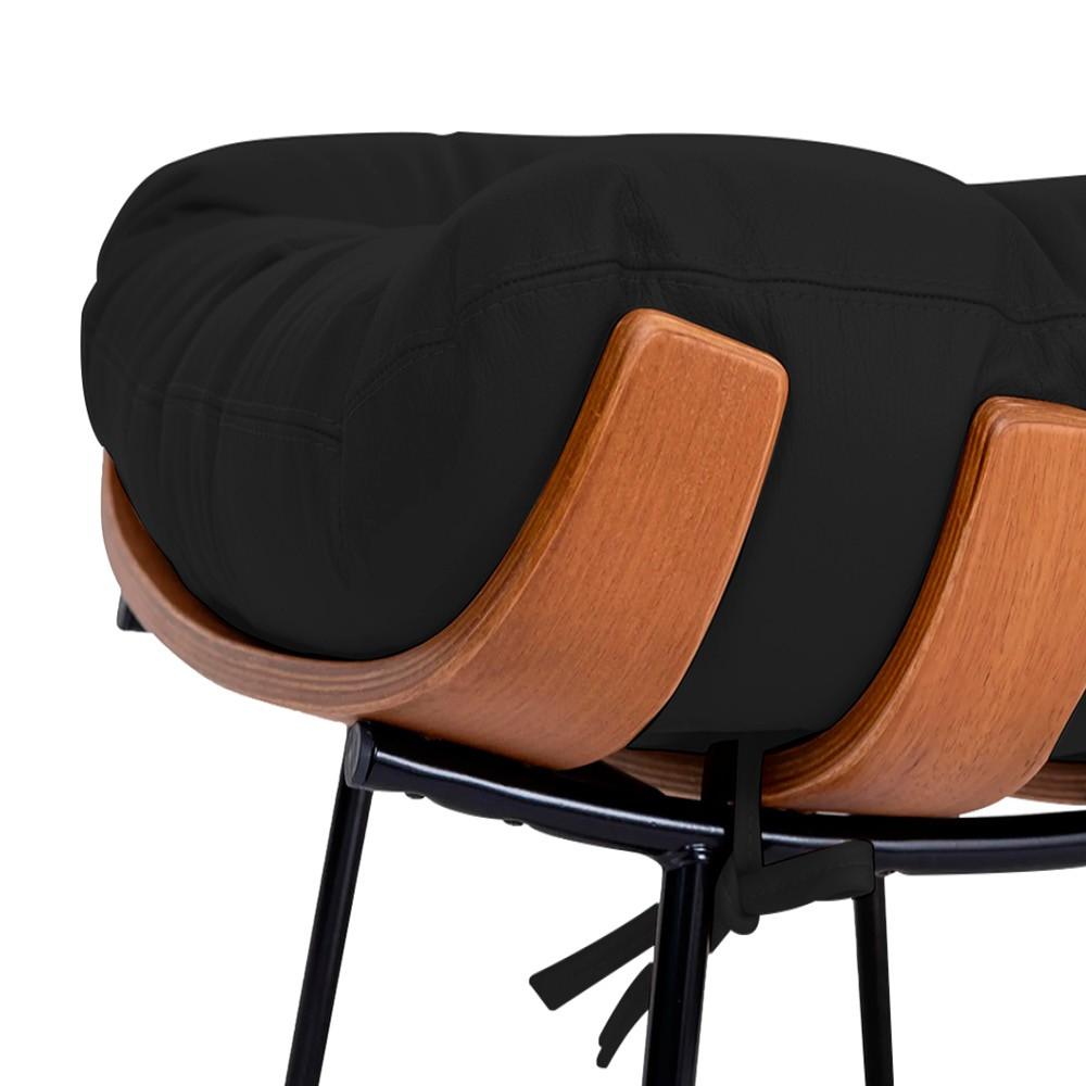 Kit Poltrona e Puff Costela Base Fixa Corano Preto - ADJ Decor