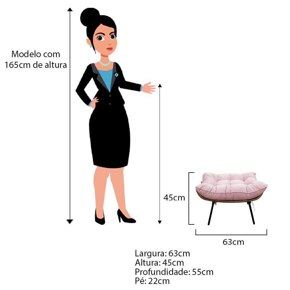 Kit Poltrona e Puff Costela Base Fixa Corano Rosa Bebê - ADJ Decor