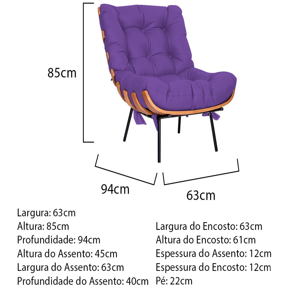 Kit Poltrona e Puff Costela Base Fixa Corano Roxo - ADJ Decor