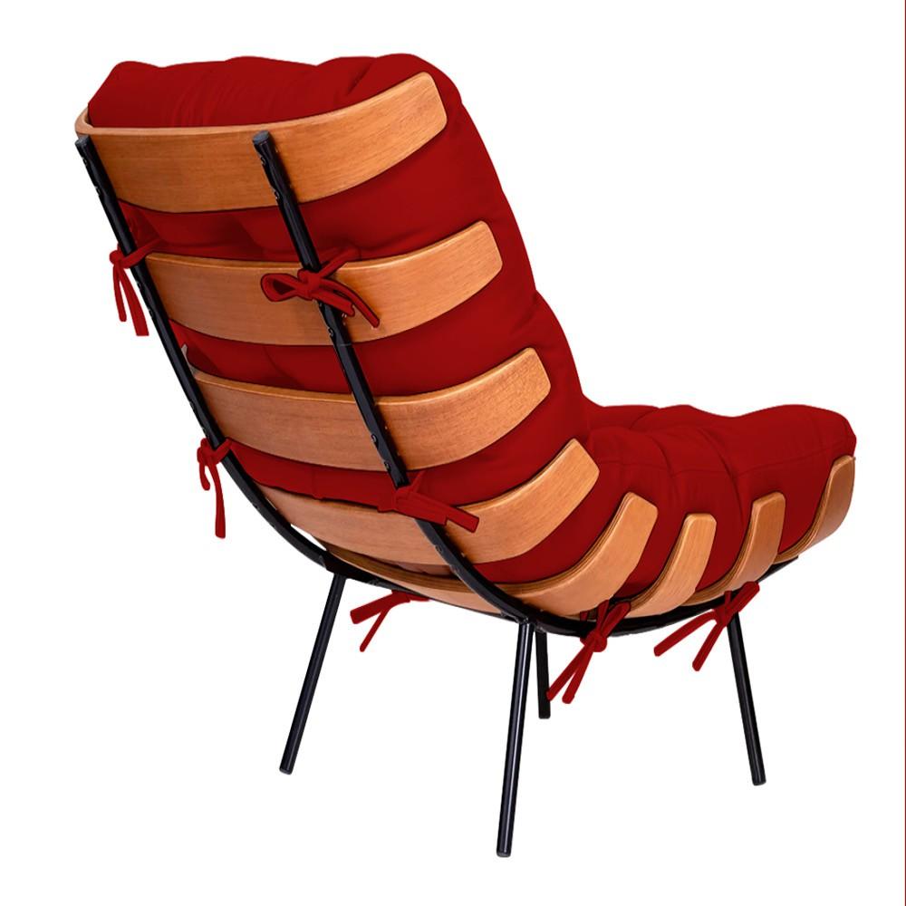 Kit Poltrona e Puff Costela Base Fixa Corano Vermelho - ADJ Decor