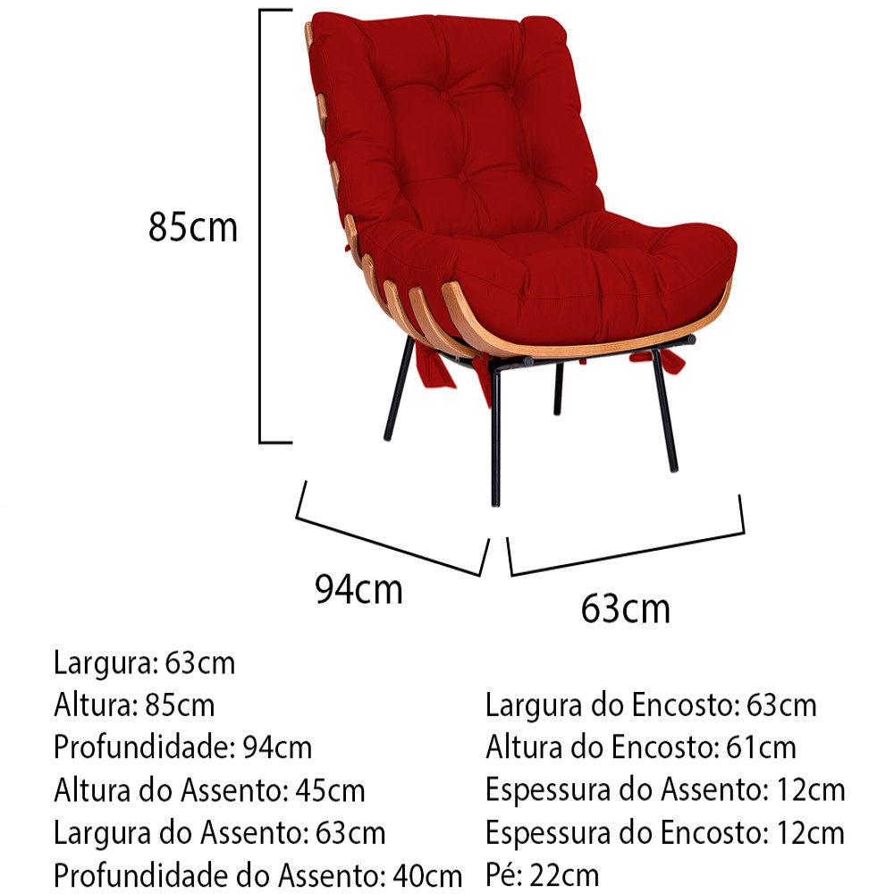 Kit Poltrona e Puff Costela Base Fixa Corano Vermelho - ADJ Decor