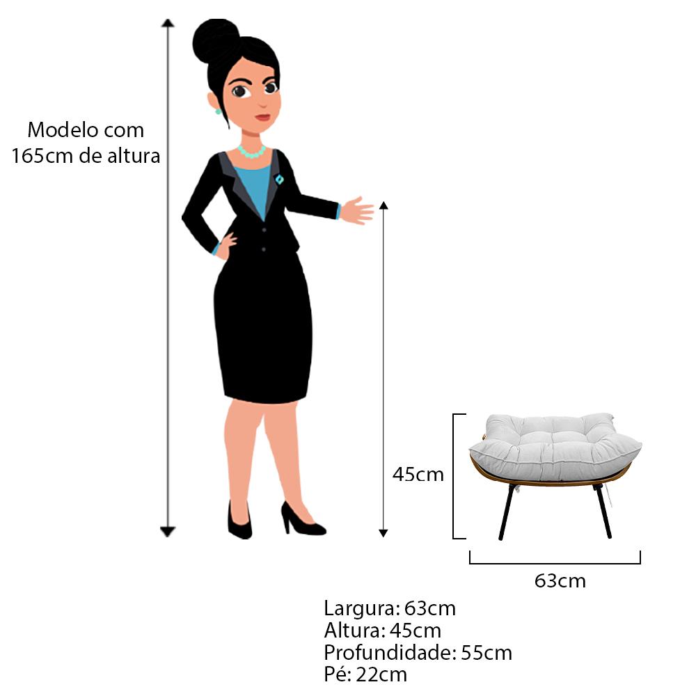 Kit Poltrona e Puff Costela Base Fixa Couro Branco - ADJ Decor