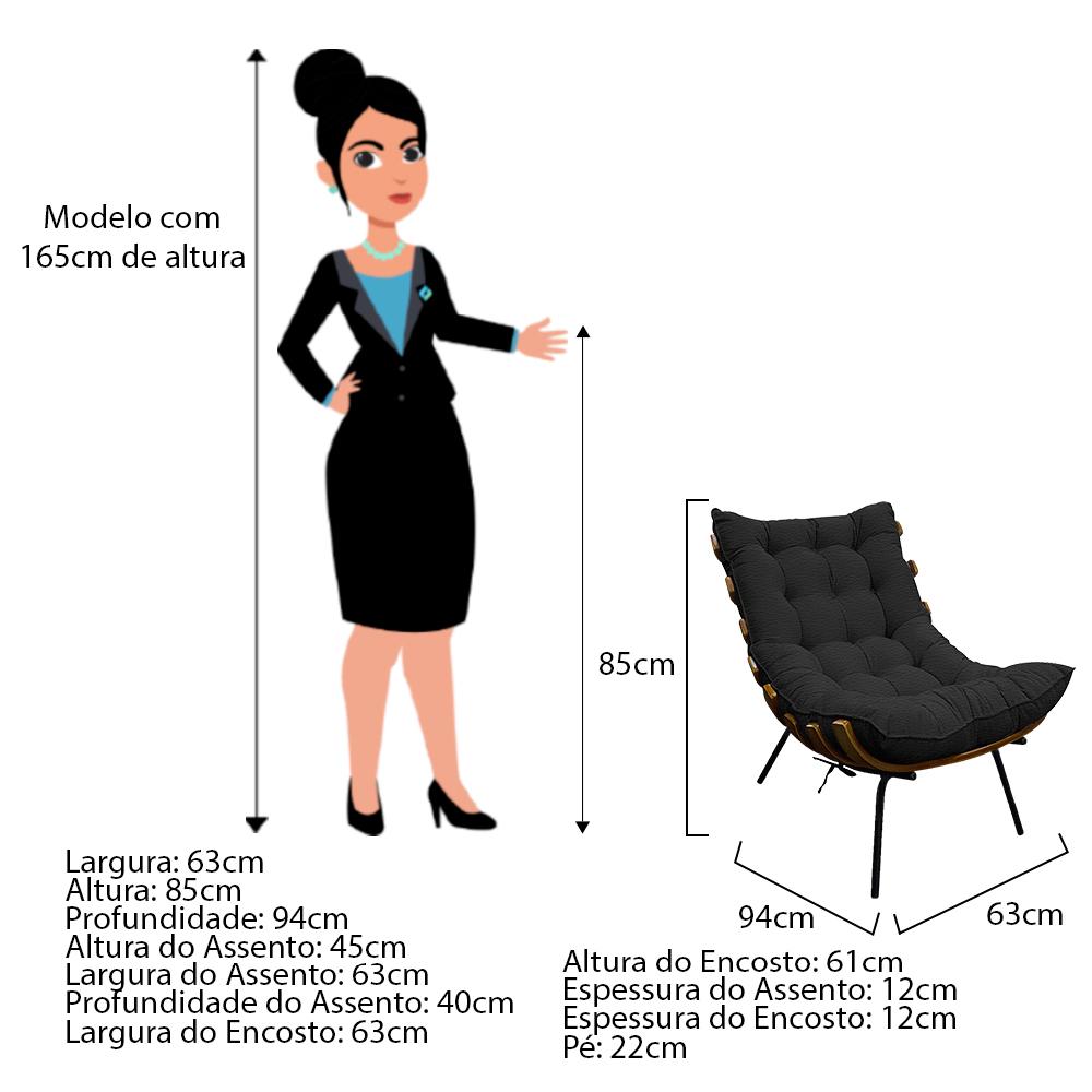 Kit Poltrona e Puff Costela Base Fixa Couro Preto - ADJ Decor