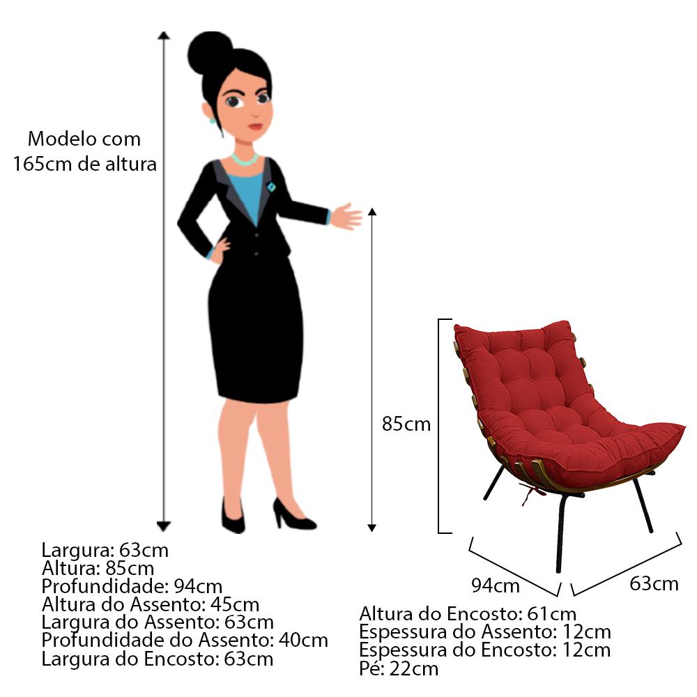 Kit Poltrona e Puff Costela Base Fixa Couro Vermelho - ADJ Decor