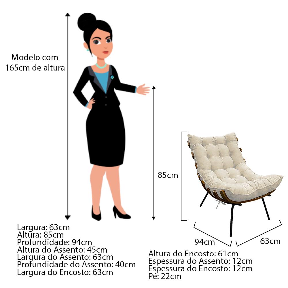 Kit Poltrona e Puff Costela Base Fixa Linho Bege - ADJ Decor