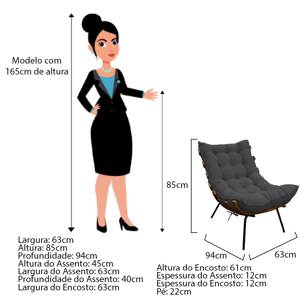 Kit Poltrona e Puff Costela Base Fixa Linho Chumbo - ADJ Decor