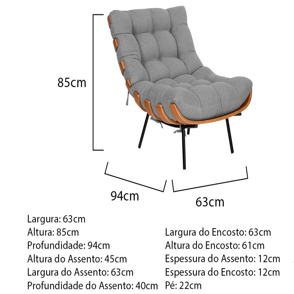 Kit Poltrona e Puff Costela Base Fixa Linho Cinza - ADJ Decor