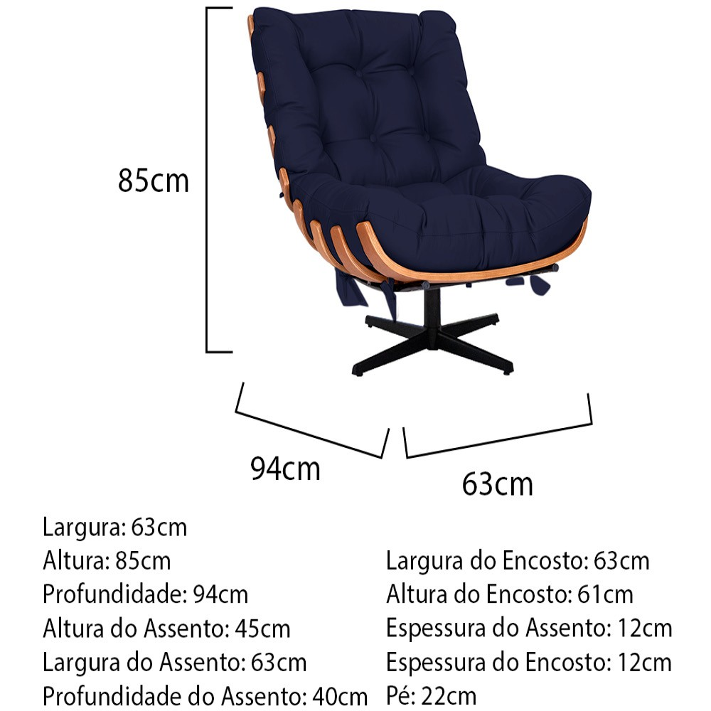 Kit Poltrona e Puff Costela Base Giratória Corano Azul Marinho - ADJ Decor