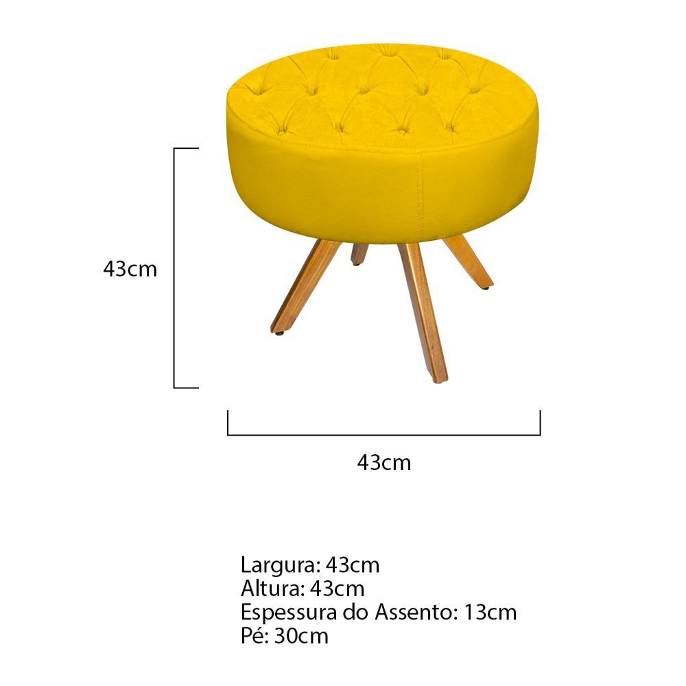kit Poltrona e Puff Fernanda Base Giratória de Madeira Corano Amarelo - ADJ Decor