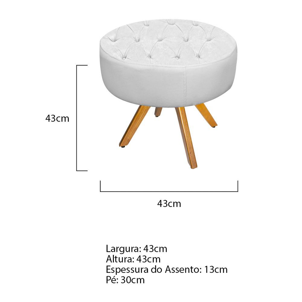 kit Poltrona e Puff Fernanda Base Giratória de Madeira Corano Branco - ADJ Decor