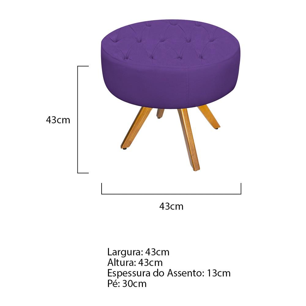 kit Poltrona e Puff Fernanda Base Giratória de Madeira Corano Roxo - ADJ Decor