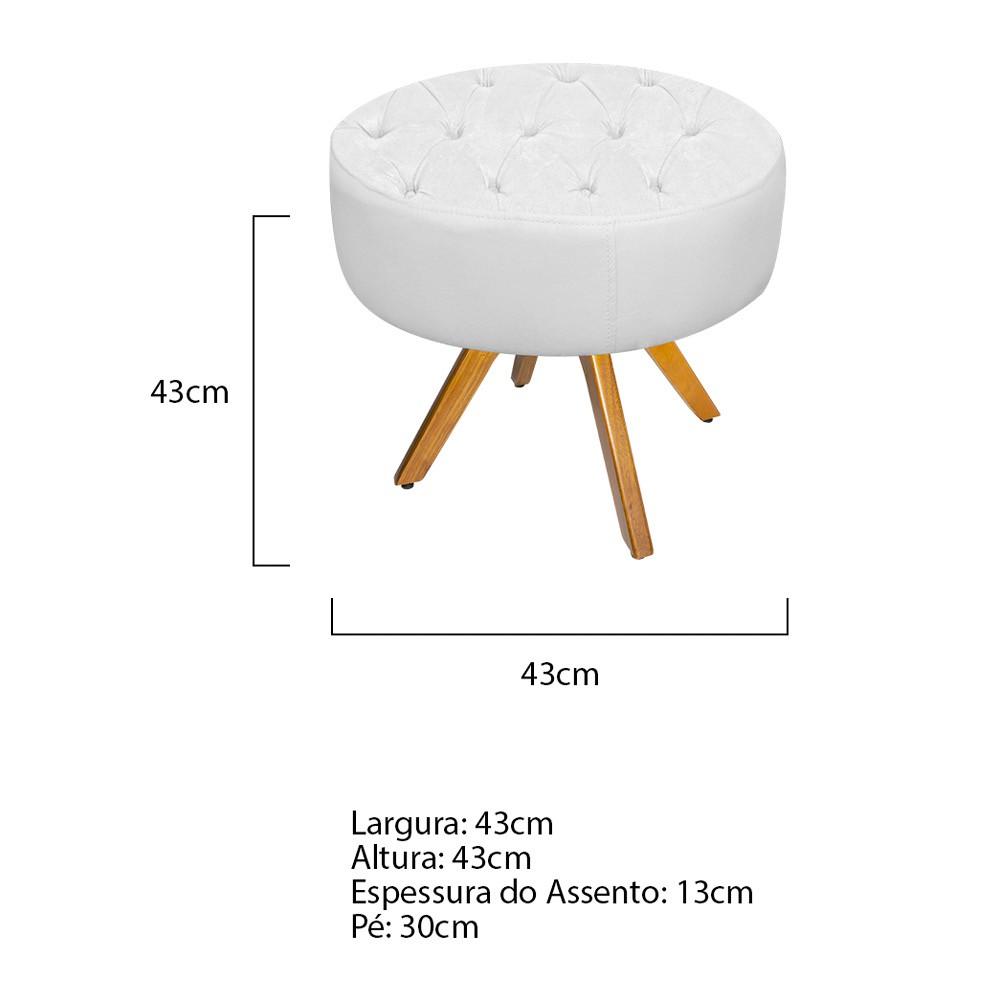 kit Poltrona e Puff Fernanda Base Giratória de Madeira Suede Branco - ADJ Decor