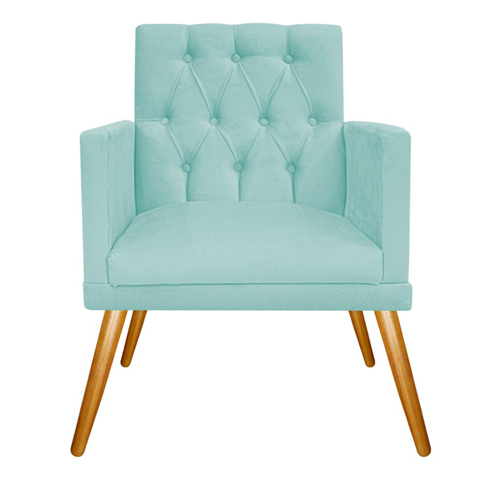 kit Poltrona e Puff Fernanda Palito Mel Suede Azul Tiffany - ADJ Decor