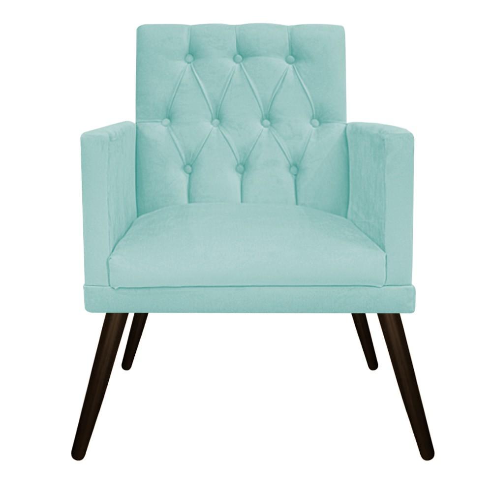 kit Poltrona e Puff Fernanda Palito Tabaco Suede Azul Tiffany - ADJ Decor