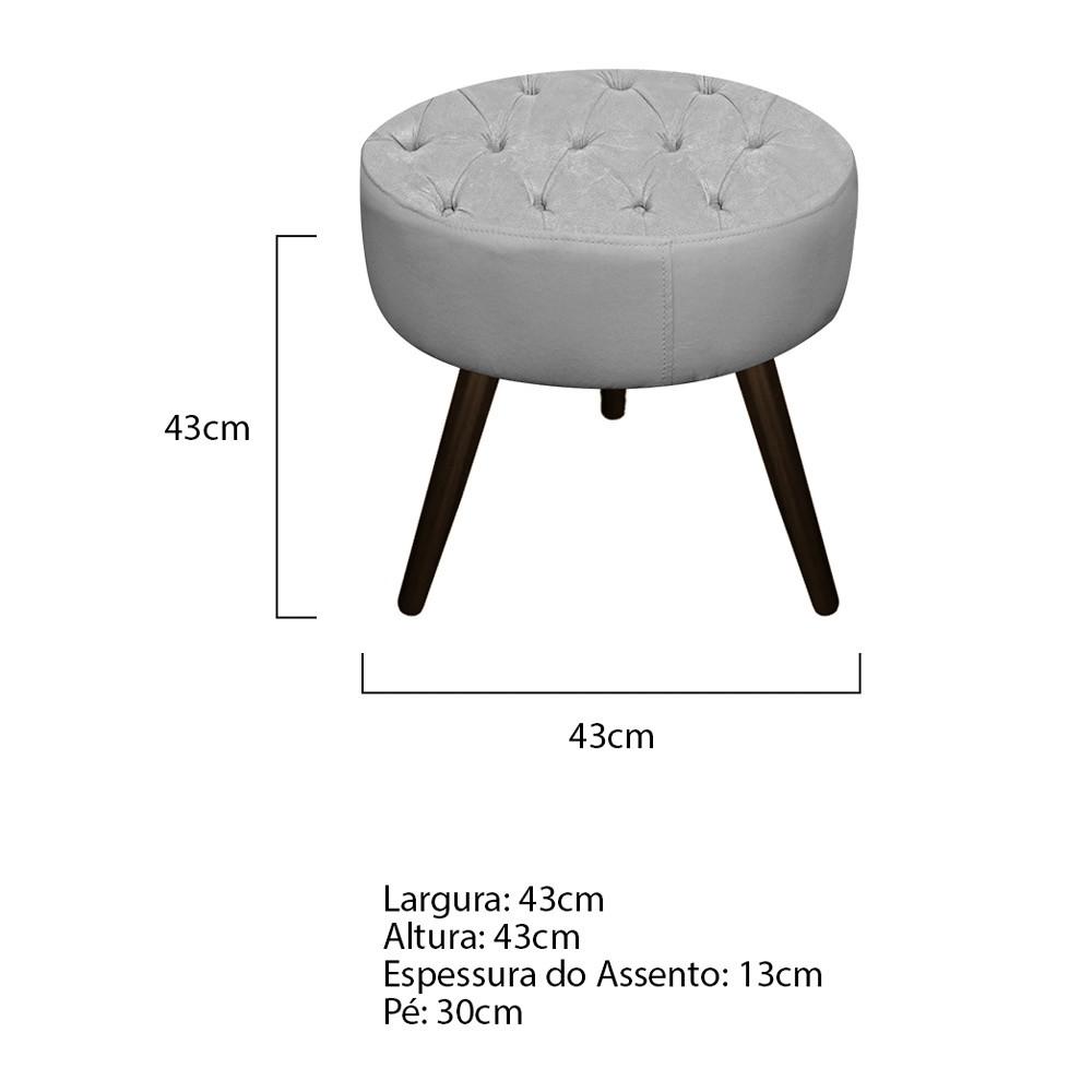 kit Poltrona e Puff Fernanda Palito Tabaco Suede Cinza - ADJ Decor