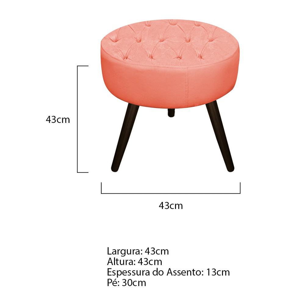 kit Poltrona e Puff Fernanda Palito Tabaco Suede Coral - ADJ Decor