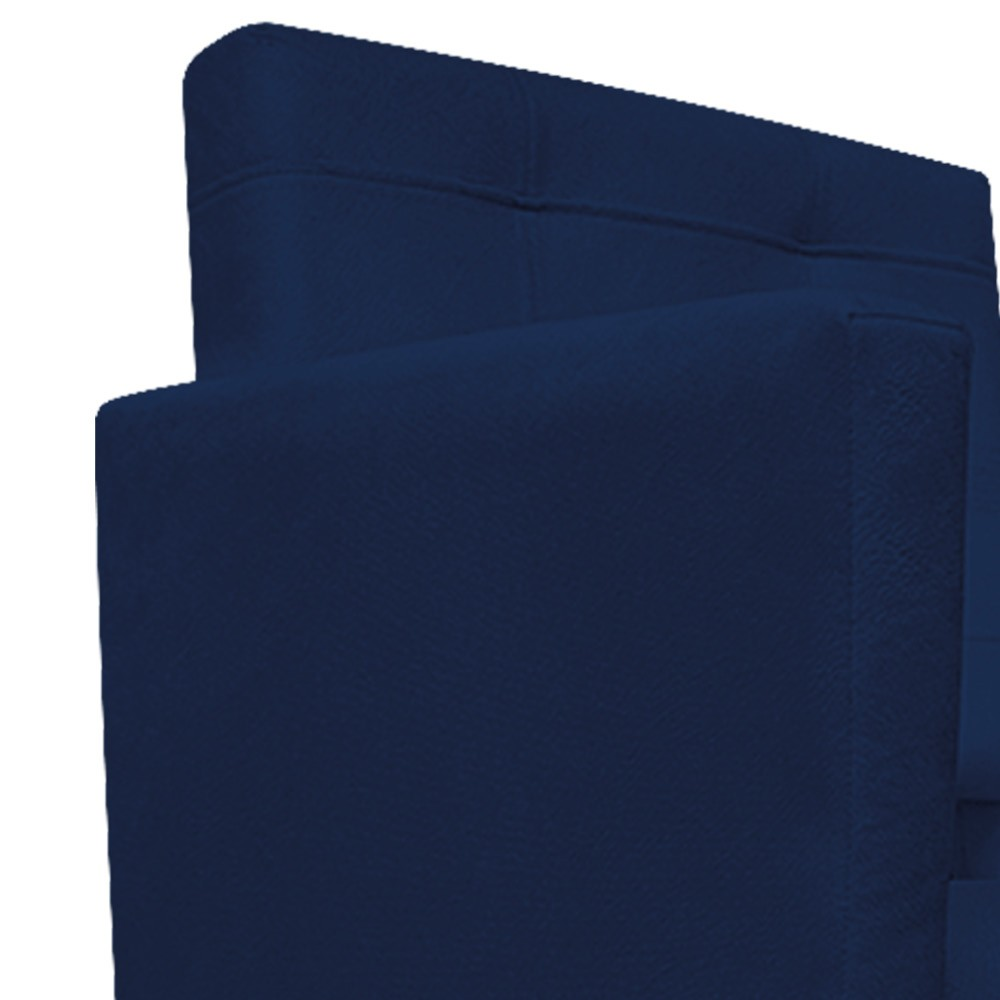 Kit Poltrona Gênesis e Puff Sofia Palito Tabaco Suede Azul Marinho - ADJ Decor
