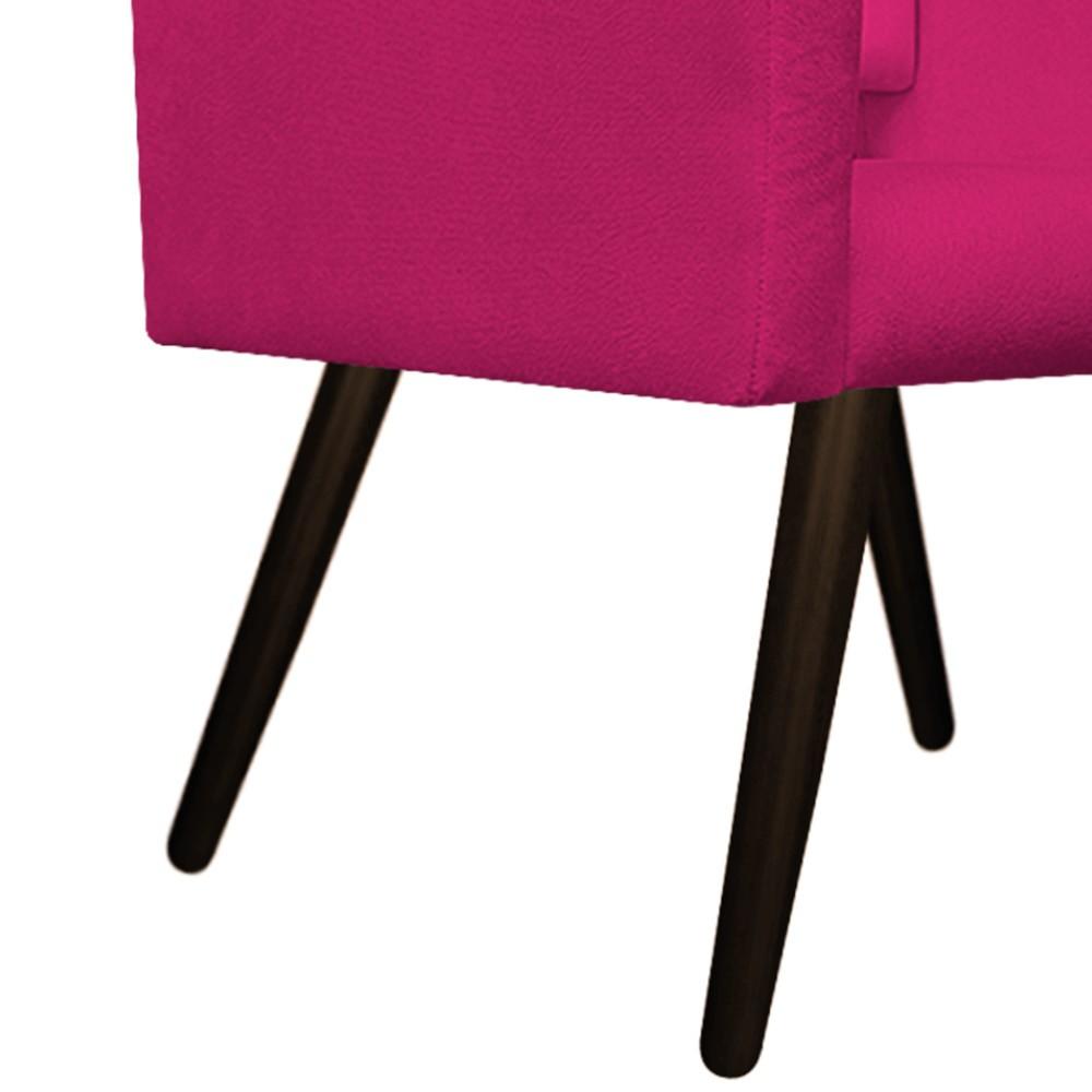 Kit Poltrona Gênesis e Puff Sofia Palito Tabaco Suede Pink - ADJ Decor