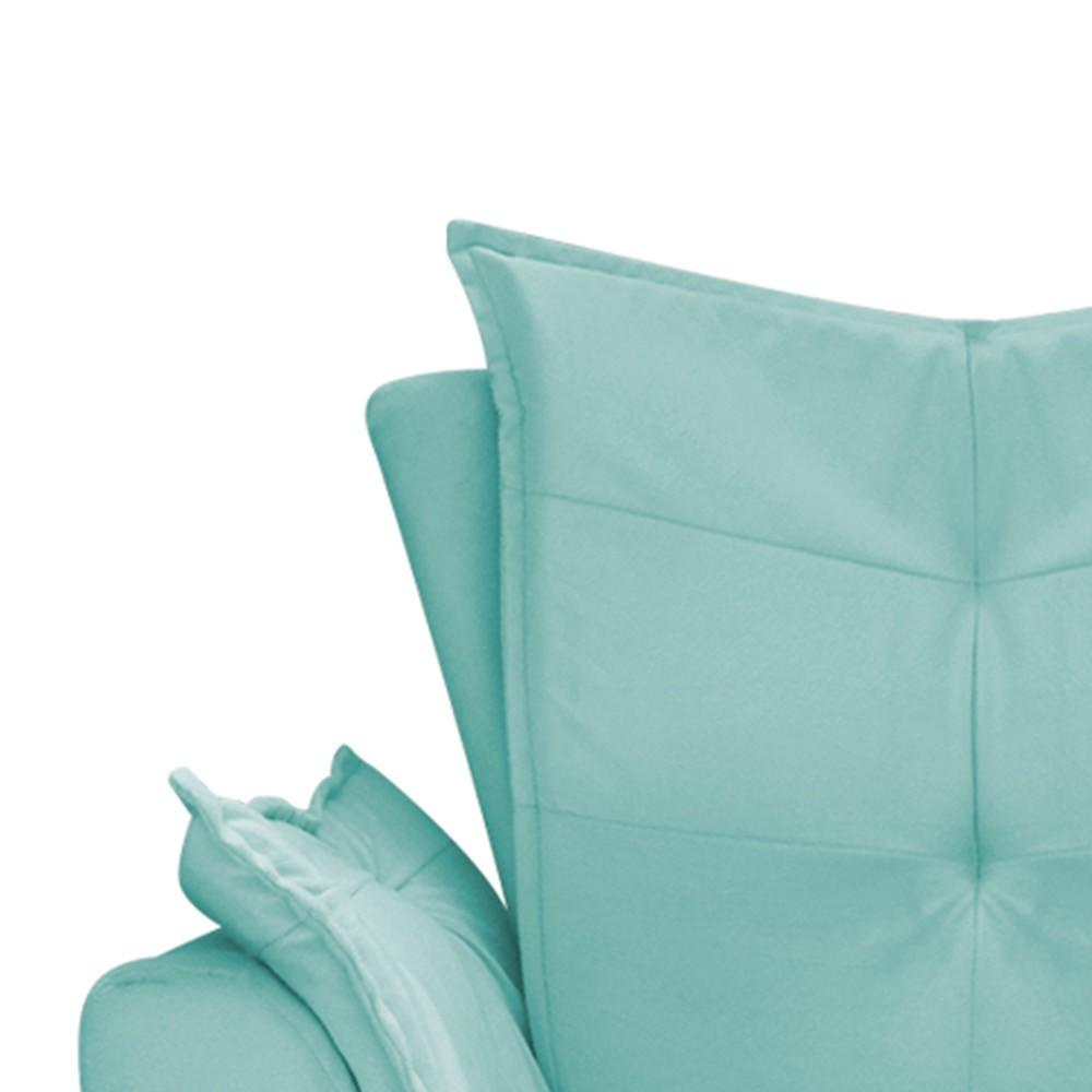 Poltrona Apolo Pés Palito Mel Suede Azul Tiffany - ADJ Decor