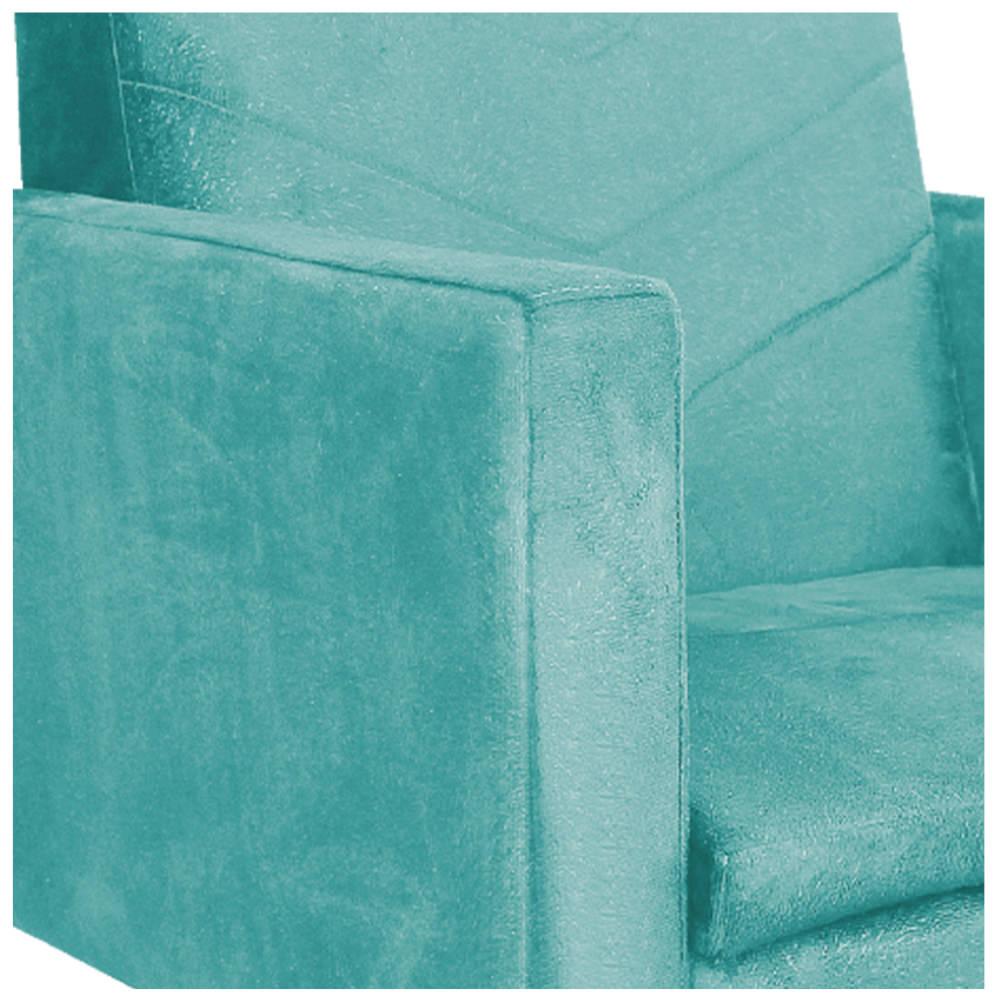 Poltrona Bella Base Giratória de Madeira Suede Azul Tiffany - ADJ Decor