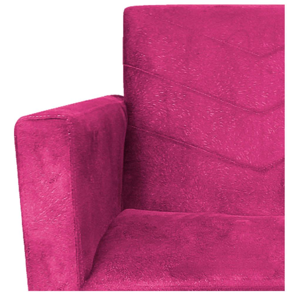 Poltrona Bella Base Giratória de Madeira Suede Pink - ADJ Decor