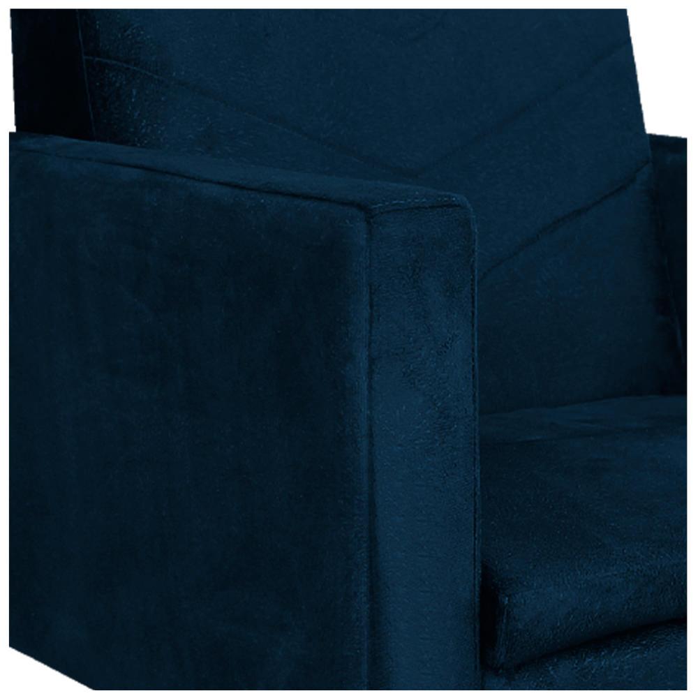 Poltrona Bella Base Giratória de Metal Suede Azul Marinho - ADJ Decor