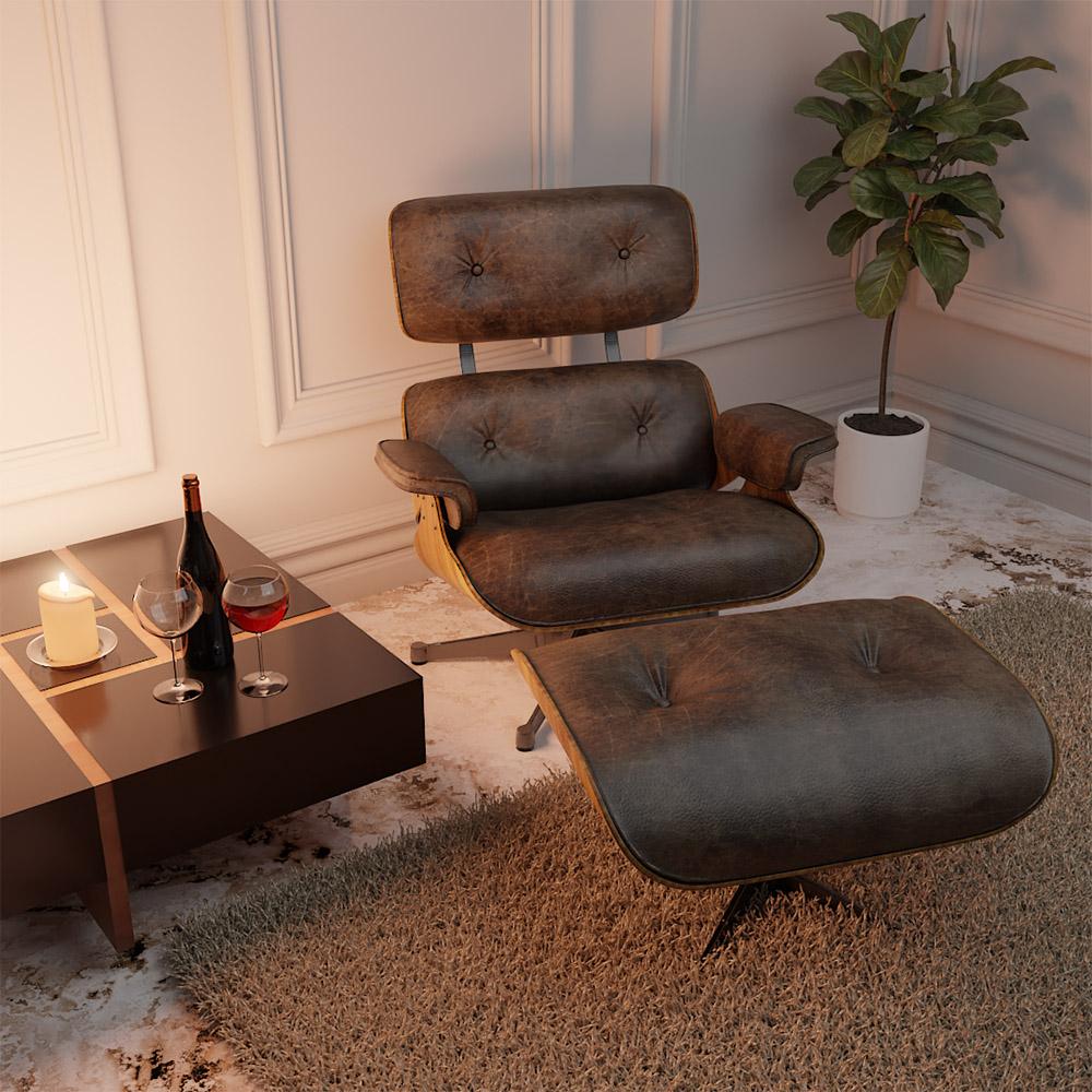 Poltrona Charles Eames com Puff Couro Ecológico Marrom - ADJ DECOR