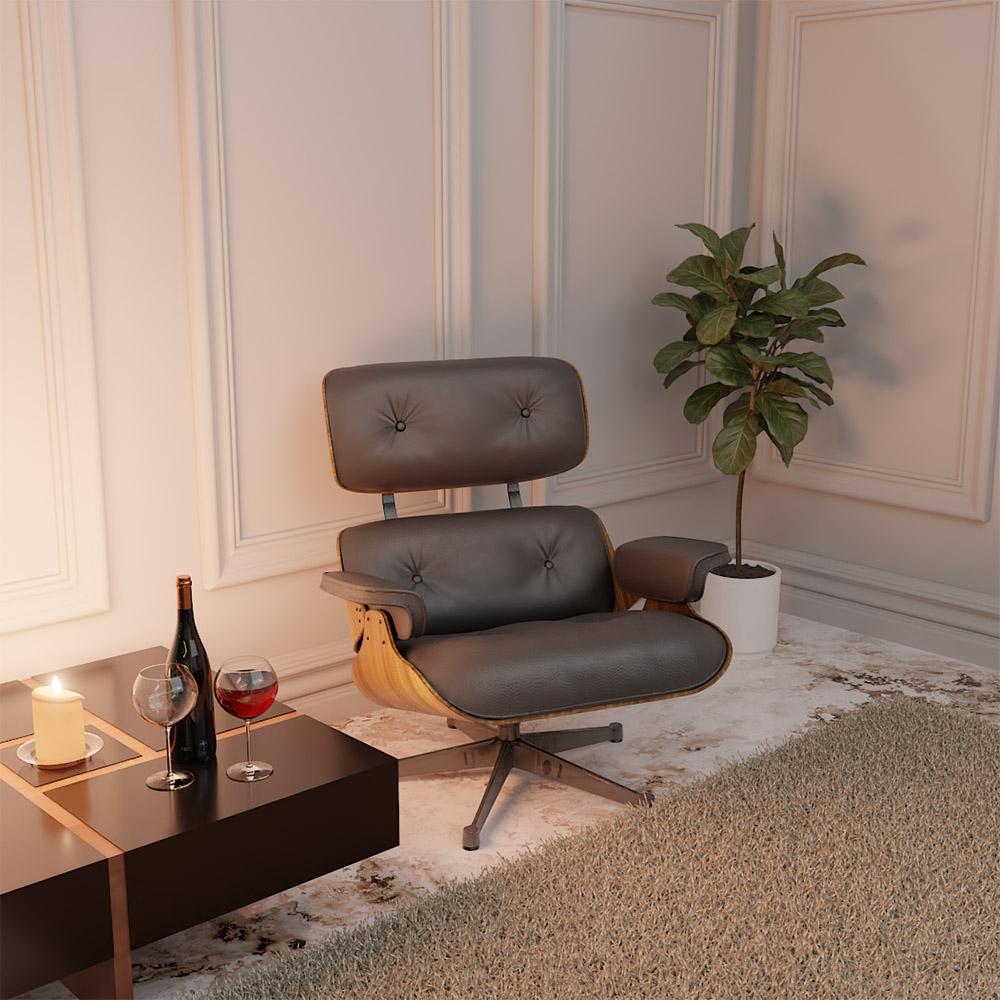 Poltrona Charles Eames com Puff Couro Ecológico Preto - ADJ DECOR