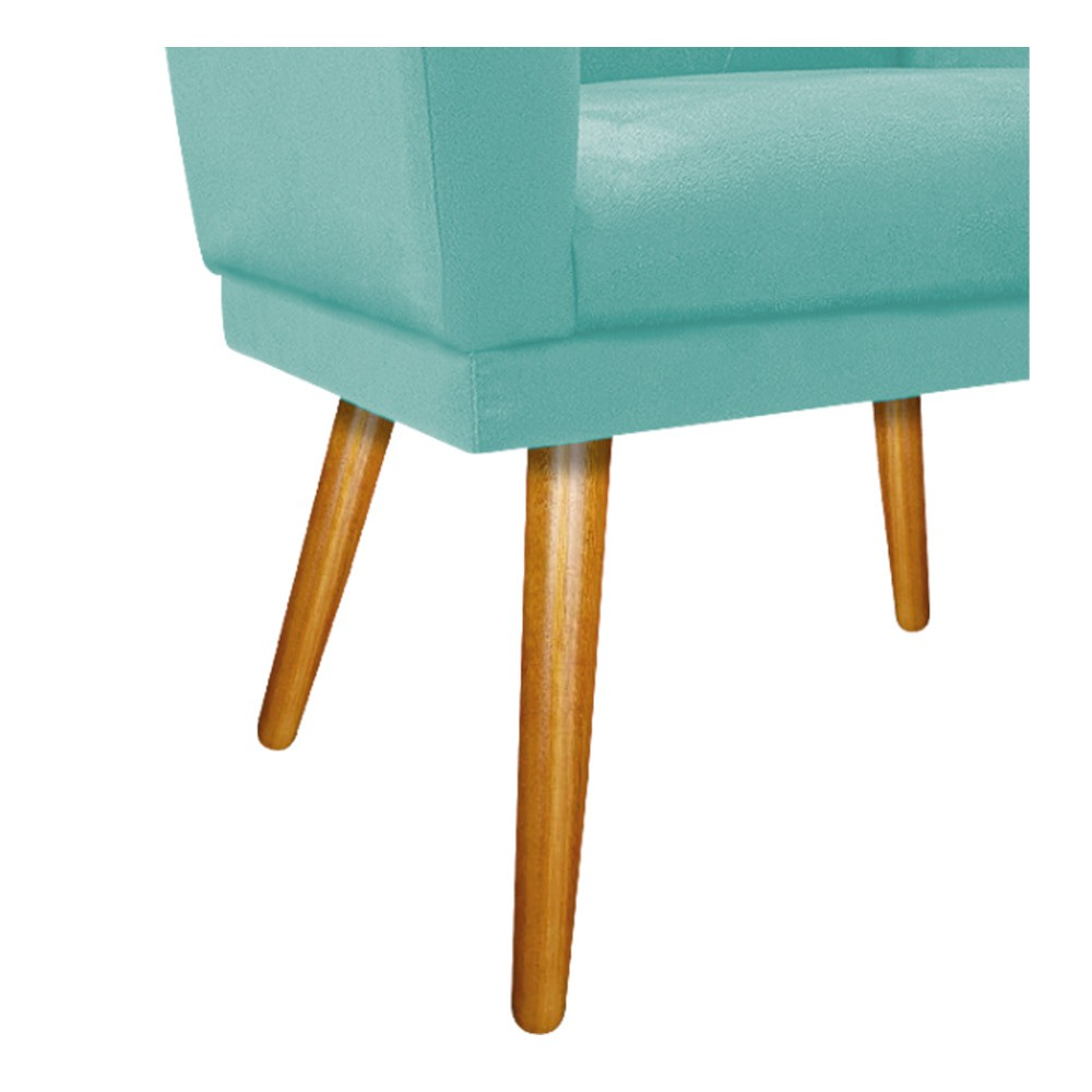 Poltrona Dália Pés Palito Mel Suede Azul Tiffany - ADJ Decor