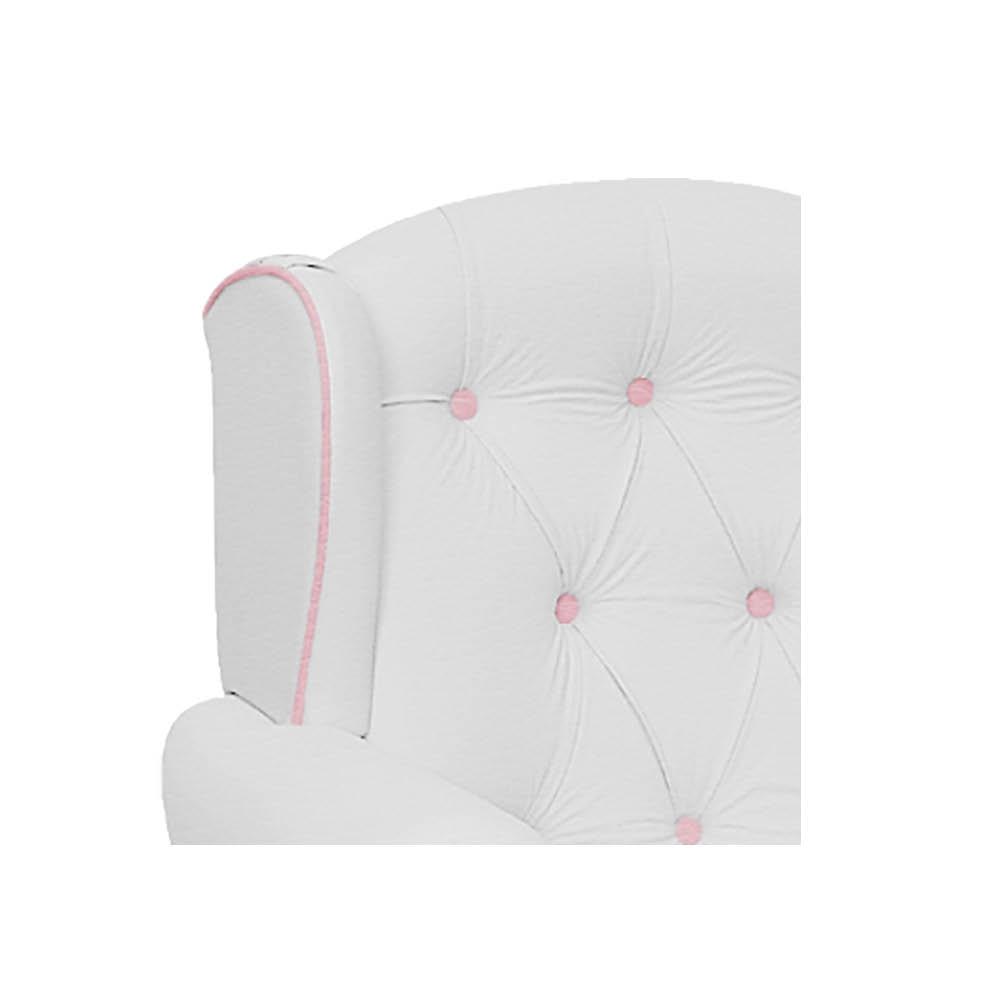 Poltrona de Amamentação Alice com Balanço Corano Branco com Botão Rosa Bebê - ADJ DECOR